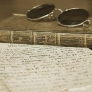 Sunglasses on an old book