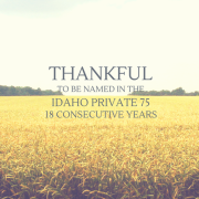 Wheat field with title - Thankful to be named in the Idaho Private 75 - 18 consecutive years