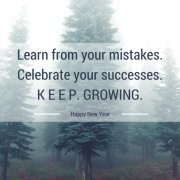 A tree in a forest on a foggy day with title - Learn from your mistakes. Celebrate your success. Keep Growing, Happy New Year