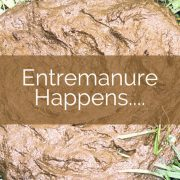 A pile of cow manure with title - Entremanure Happens