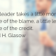 Business guy in background, blurred out. Quote - A good leader takes a little more than his share of the blame, a little less than his share of the credit. - Arnold H. Glasow
