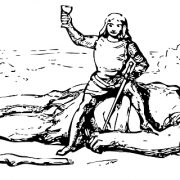 Drawing of regular size person sitting on top of a defeated giant