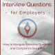 eBook cover with title - Interview Questions - for Employers - (compass graphic) How to Navigate Interview Questions and Compliance like a Pro, ERM logo