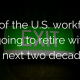 Green exit sign with title - 31% of the U.S. workforce is going to retire within the next two decades...