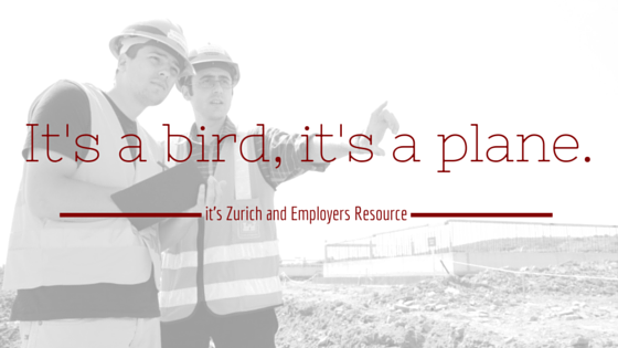 Two guys in safety vests and hard hats with a clipboard pointing at something on a worksite. Title - It's a bird, it's a plane. It's Zurich and Employers Resource