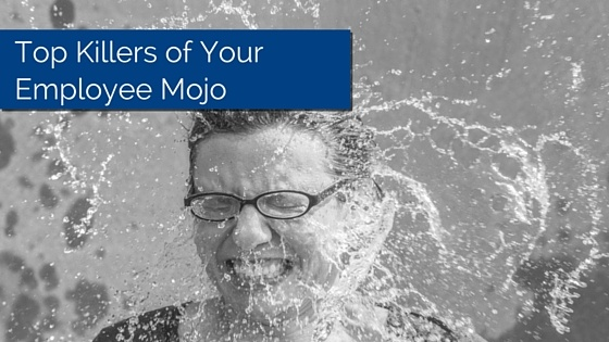 Women getting splashed in the face with water, title - Top Killers Of Employee Mojo