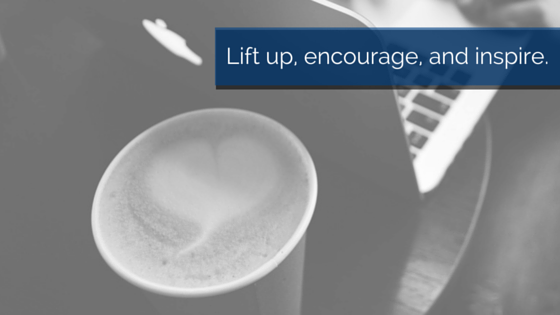 Cup of latte with a heart shape in the foam and a laptop sitting near the latte. Title - Luft up, encourage, and inspire