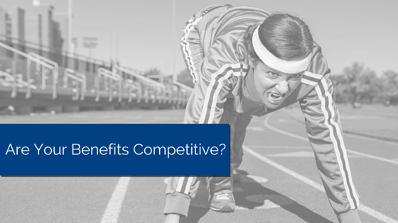 Person in track suit lining up to get started to run. Title - Are your benefits competitive?