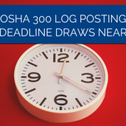 Clock reading 12:20 on a red wall with a title - Osha 300 Log Posting Deadline Draws Near