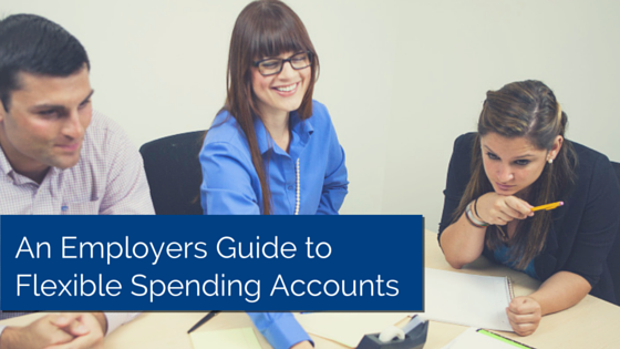 Three business people sitting at table, one seems to be instructing and title - An Employers Guide to Flexible Spending Accounts