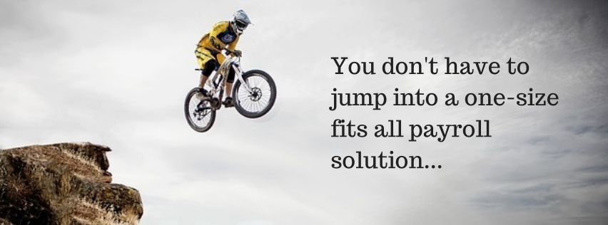 Person jumping a mountain bike with a helmet on and title - You don't have to jump into a one-size fits all payroll solution...