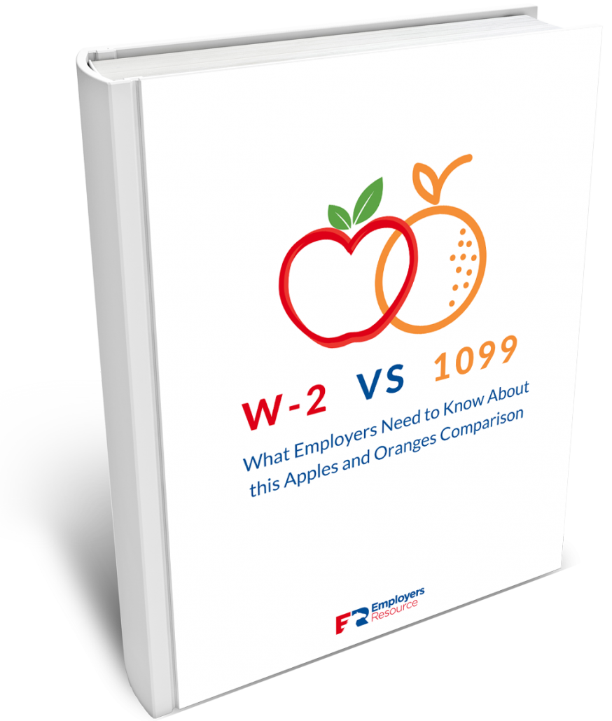 W2 Vs 1099 Difference Ebook cover. Picture with an apple and orange