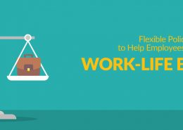 Flexible Policies to Help Employees Achieve Work-life Balance with an old scale, one side has a briefcase, the other has a house.